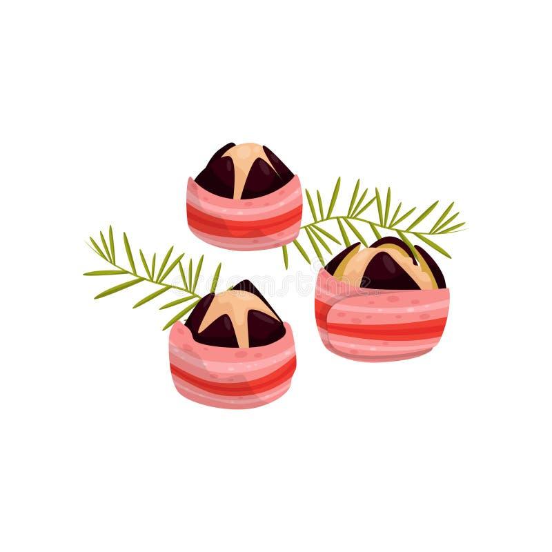 Krämig muffin för söt mat med illustrationen för fikonträdfruktvektor på en vit bakgrund royaltyfri illustrationer