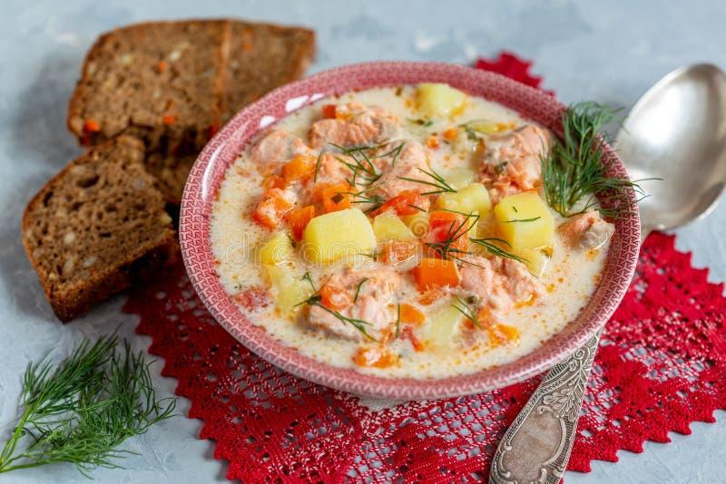 Krämig soppa med laxen, grönsaker och ny dill i en bunke arkivbilder