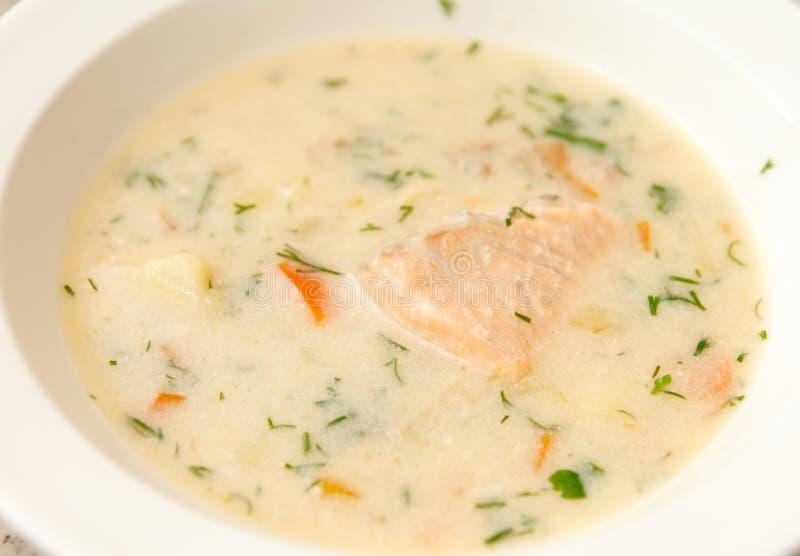 Krämig soup med laxen royaltyfria bilder