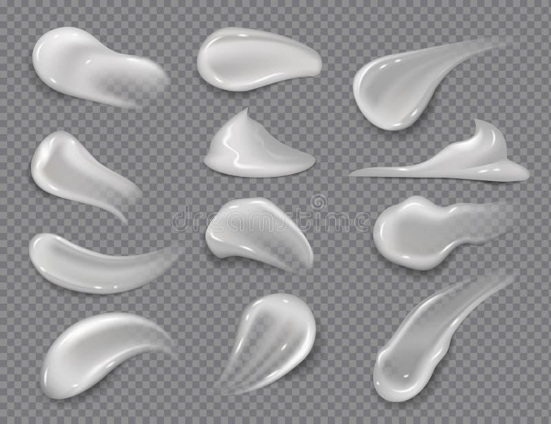 Krämsudd Den realistiska vita skönhetsmedlet stelnar, krämiga tandkrämklickar på genomskinlig bakgrund Vektorskincarelotion stock illustrationer