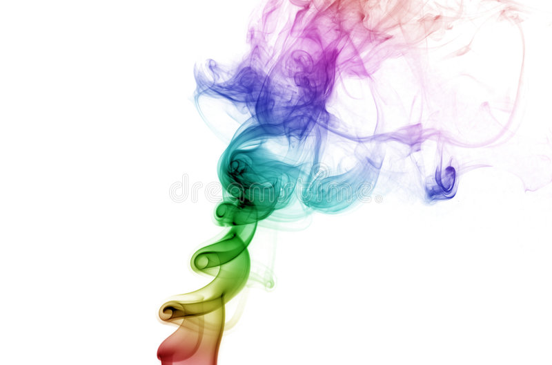 Kräuselnregenbogen-Rauch stockfotografie