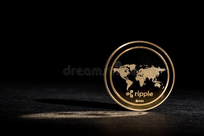 KRÄUSELUNG cryptocurrency Münze stockbild