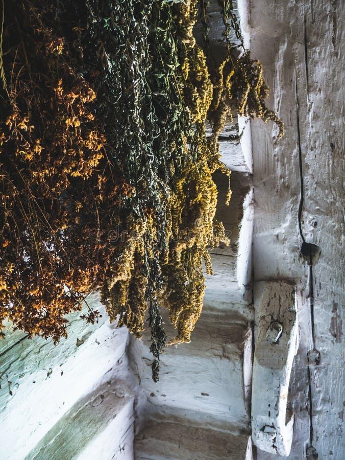 Kräuter, die in einem alten Haus in der Landschaft trocknen lizenzfreies stockbild