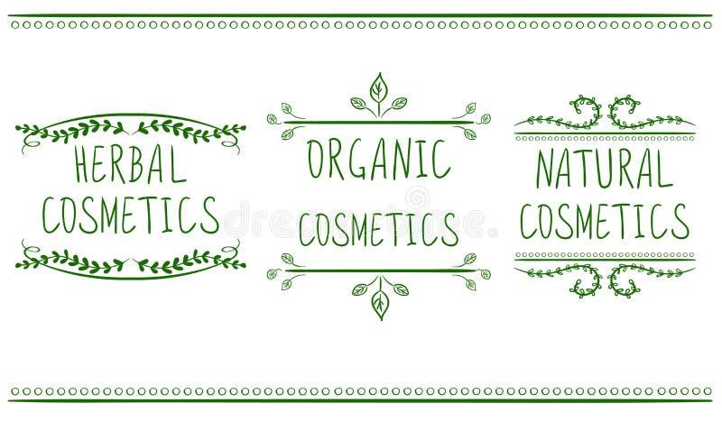 Kräuter, organisch, Naturkosmetik Hand gezeichnete Vignetten mit handgeschriebenem Text Grüne Grenzen stock abbildung