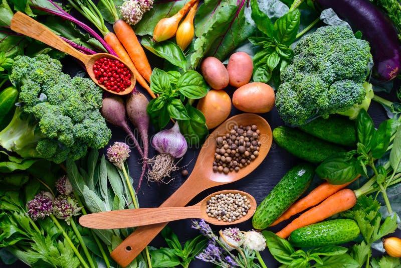Kräuter und Gemüse, Ansicht von oben stockbilder