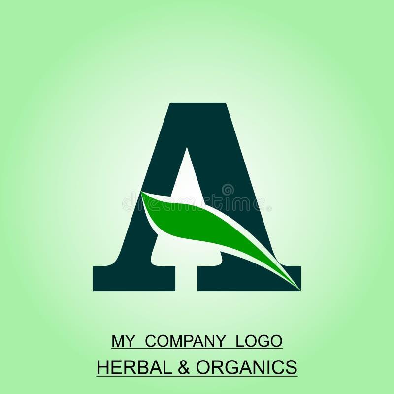 Kräuter- und organisches Logo alphabetisch entworfen und Computerillustration lizenzfreie abbildung
