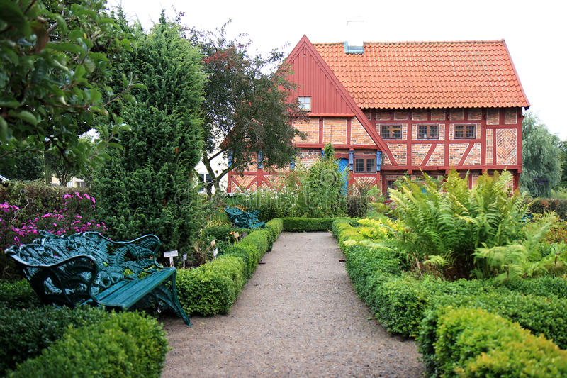 Kräutergarten von Greyfriars-Abtei in Ystad, Schweden stockbild