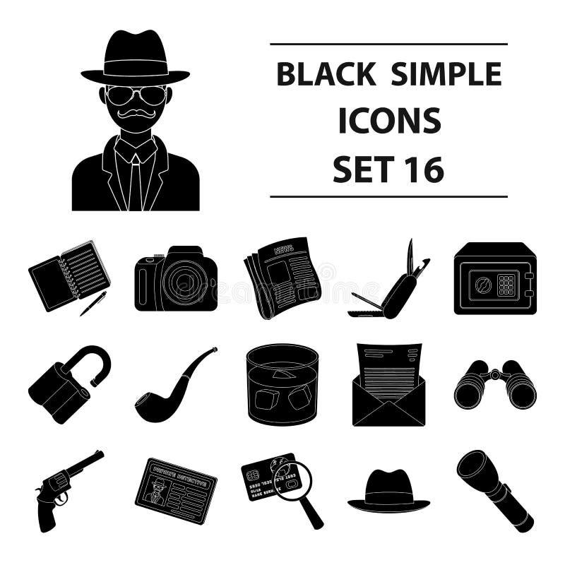 Krócica, tubka, identyfikacja, magnifier i inny, atrybuty Detektyw ustalone inkasowe ikony w czerni projektują wektor ilustracja wektor