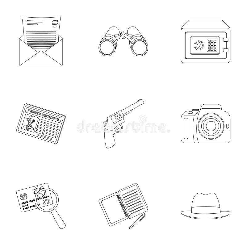 Krócica, tubka, identyfikacja, magnifier i inny, atrybuty Detektyw ustalone inkasowe ikony w konturze projektują wektor ilustracja wektor