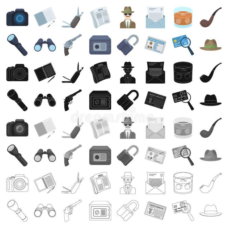 Krócica, tubka, identyfikacja, magnifier i inny, atrybuty Detektyw ustalone inkasowe ikony w kreskówce projektują wektor ilustracja wektor