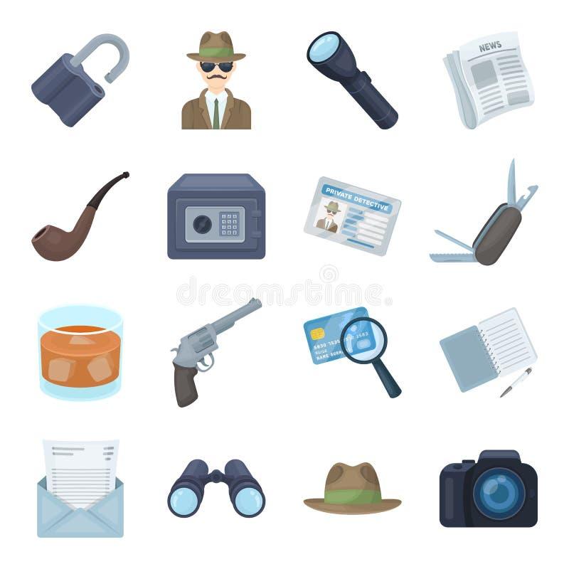 Krócica, tubka, identyfikacja, magnifier i inny, atrybuty Detektyw ustalone inkasowe ikony w kreskówce projektują wektor royalty ilustracja