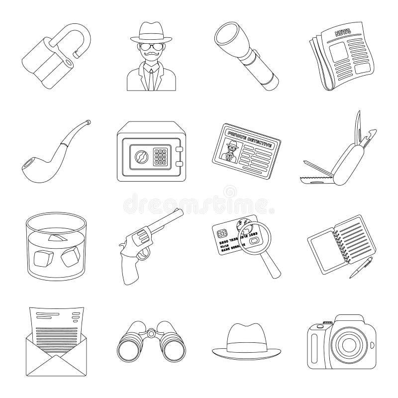 Krócica, tubka, identyfikacja, magnifier i inny, atrybuty Detektyw ustalone inkasowe ikony w kreskowego stylu wektoru symbolu royalty ilustracja