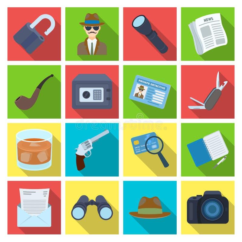 Krócica, tubka, identyfikacja, magnifier i inny, atrybuty Detektyw ustalone inkasowe ikony w mieszkaniu projektują wektorowego sy royalty ilustracja