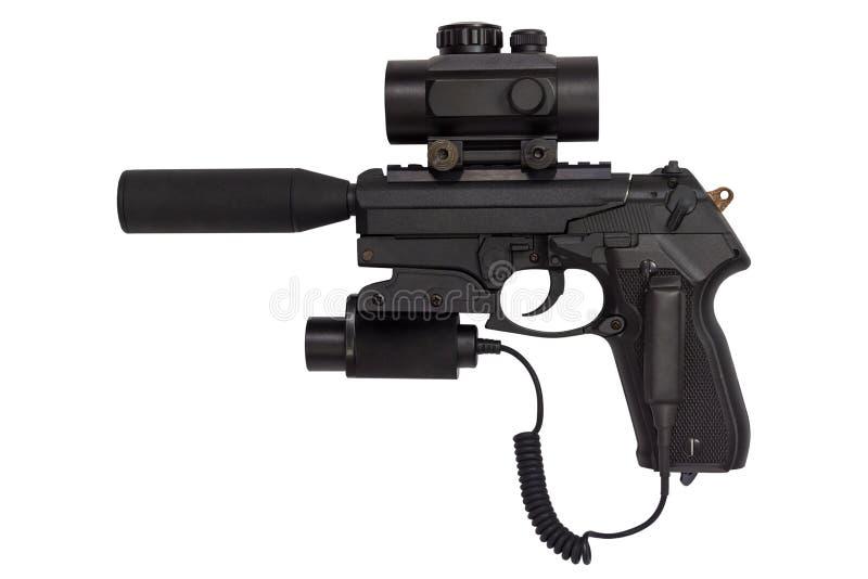 Krócica z silencer i laserowym widokiem odizolowywającymi na białym tle obrazy royalty free