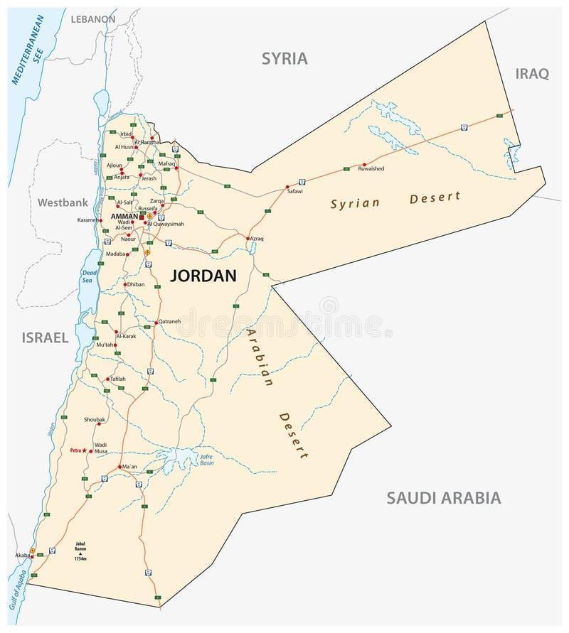Królestwo Jordanowska drogowa wektorowa mapa ilustracji