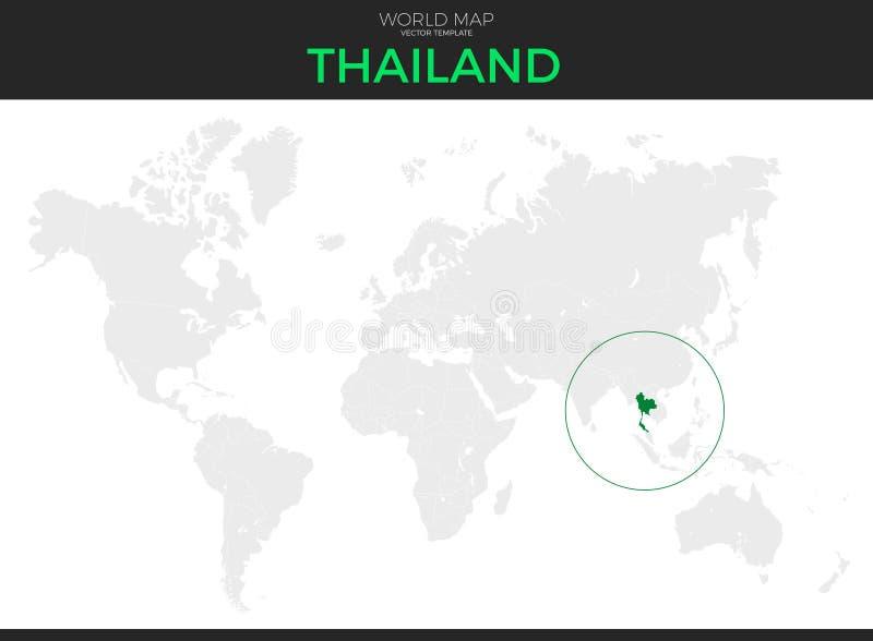 Królestwo Tajlandia lokaci mapa ilustracji