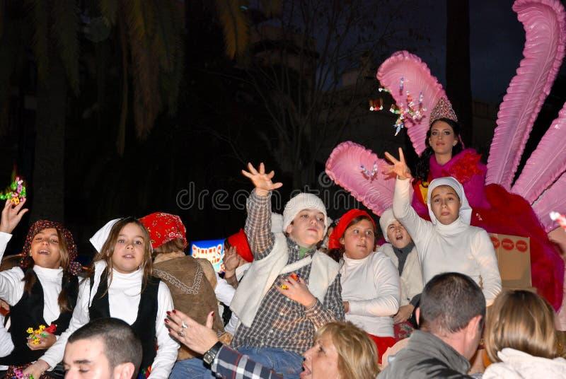 królewiątek los magiczna magos Malaga parada Reyes obraz royalty free