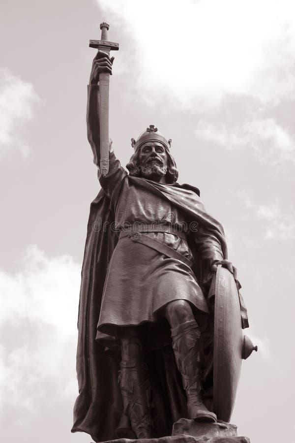 Królewiątka Alfred statua, Winchester, Anglia zdjęcia royalty free