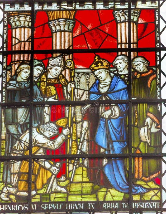 Królewiątka Henry VI witrażu opactwo abbey Londyn Anglia obraz stock