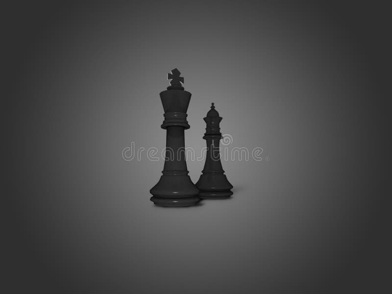 Królewiątka i królowej szachy czarne postacie zdjęcia royalty free