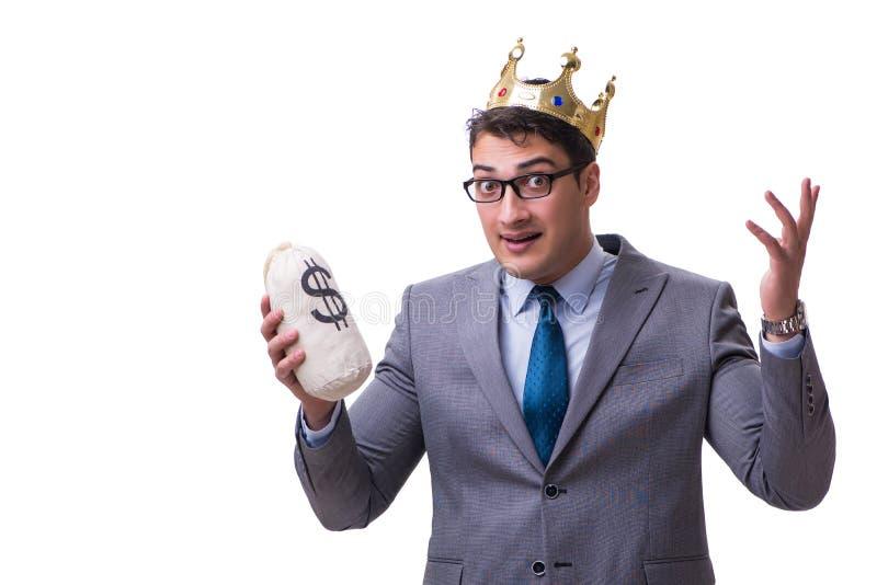 Królewiątko biznesmena mienia pieniądze torba odizolowywająca na białym tle zdjęcia royalty free