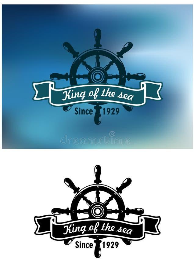 Królewiątko Denna morska odznaka lub emblemat royalty ilustracja