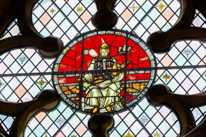 Królewiątko Edward 1 Stary witrażu opactwo abbey Londyn Anglia obrazy stock