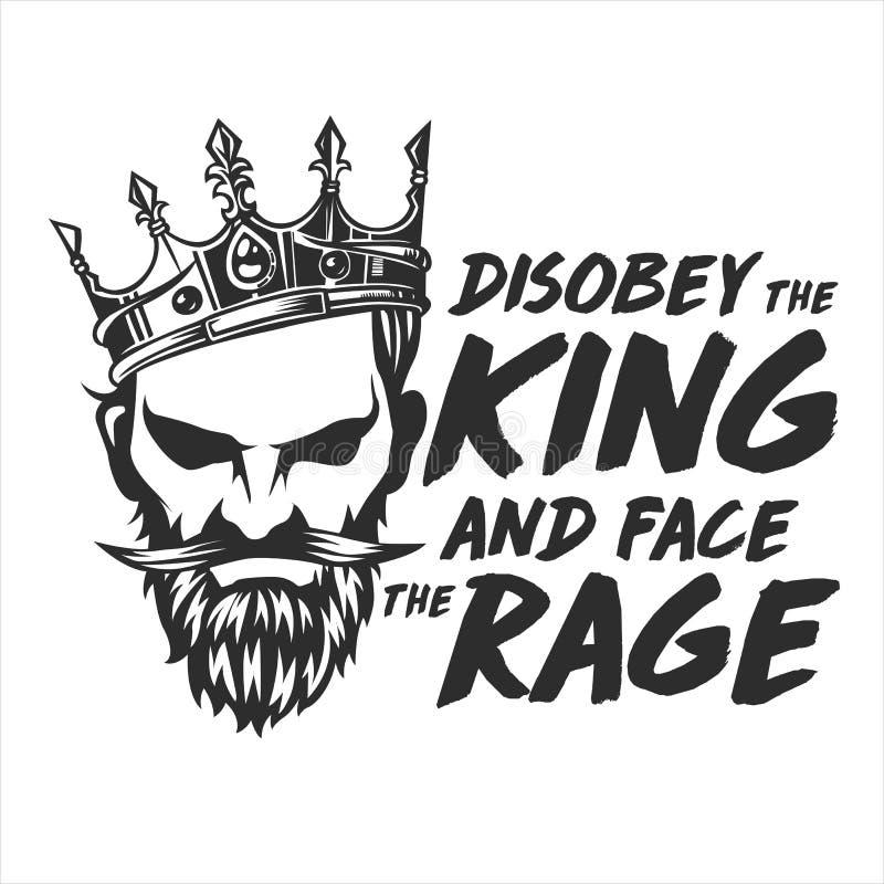 Królewiątko furia z brodą i koroną royalty ilustracja