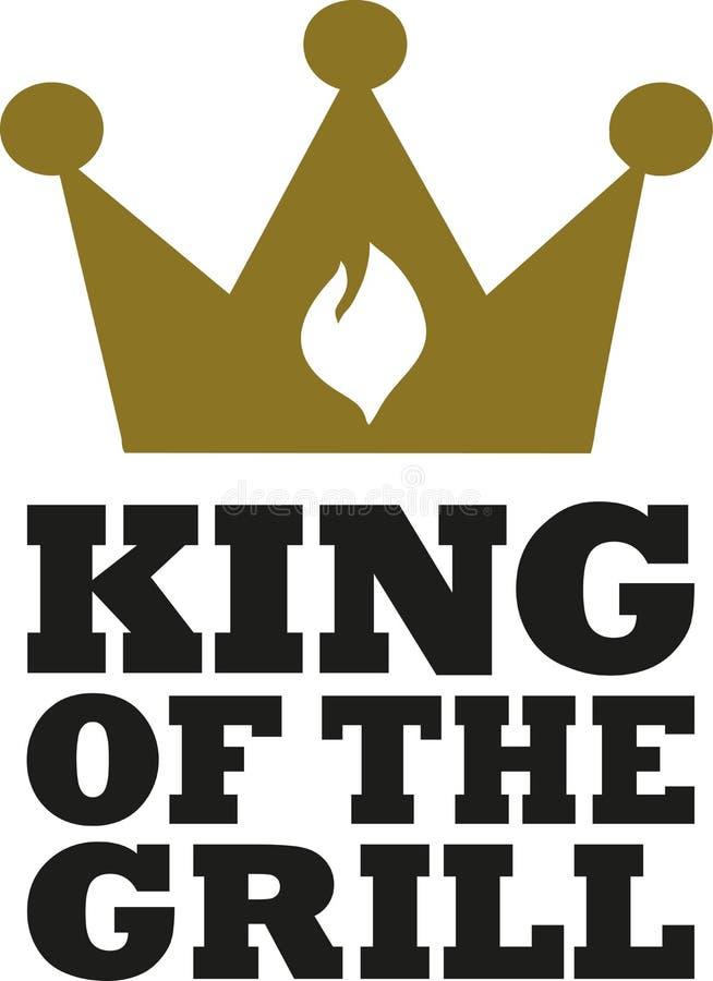 Królewiątko grill z koroną i płomieniem ilustracja wektor