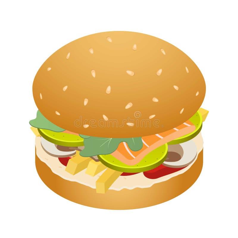 Królewiątko hamburger ikona, isometric styl ilustracja wektor
