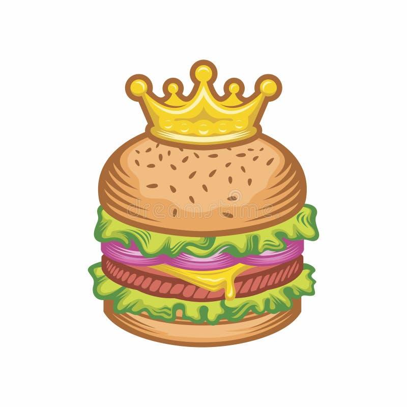 Królewiątko hamburgeru pojęcia wektorowa kreskówka i korony ilustracja yummy wyśmienicie świeży hamburger, hamburger cheeseburger ilustracja wektor