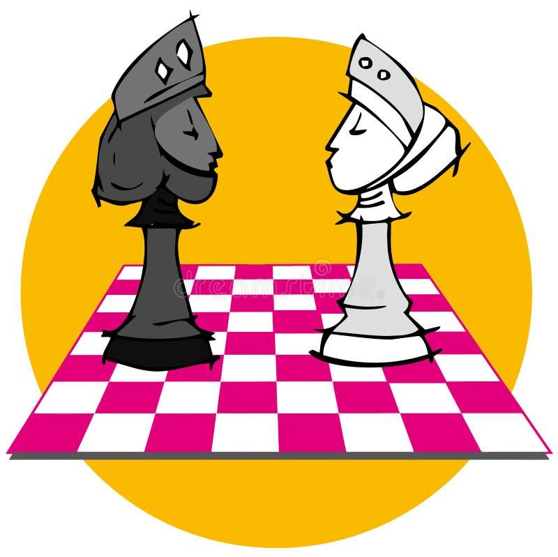 Królewiątko i królowa, Szachowa gra royalty ilustracja