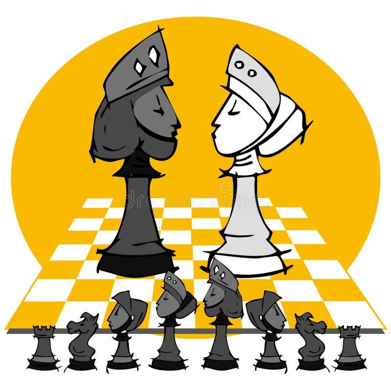 Królewiątko i królowa: Szachowa gra, kreskówka ilustracji