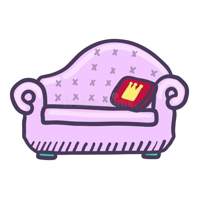 Królewiątko kanapy ikona, ręka rysujący styl royalty ilustracja