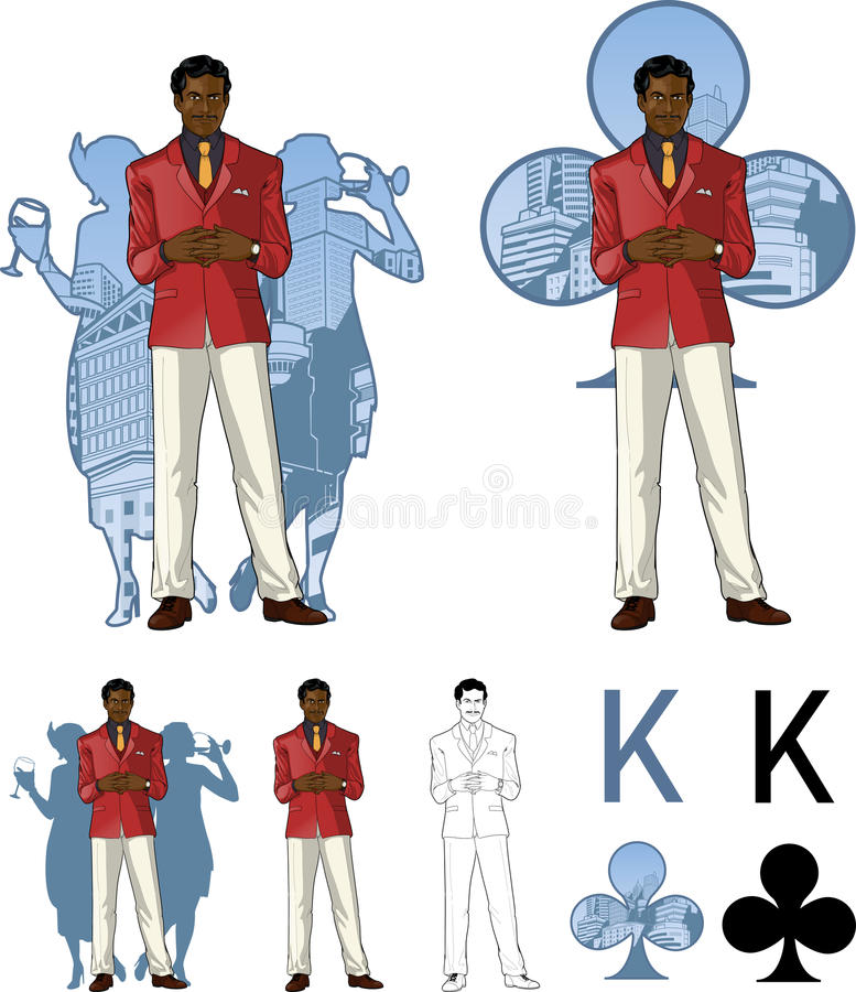 Królewiątko klub samiec przyjęcia afroamerican gospodarz z ilustracji