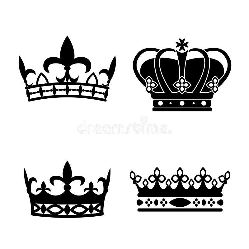 Królewiątko korony Ikona set Antykwarskie korony również zwrócić corel ilustracji wektora Mieszkanie styl royalty ilustracja