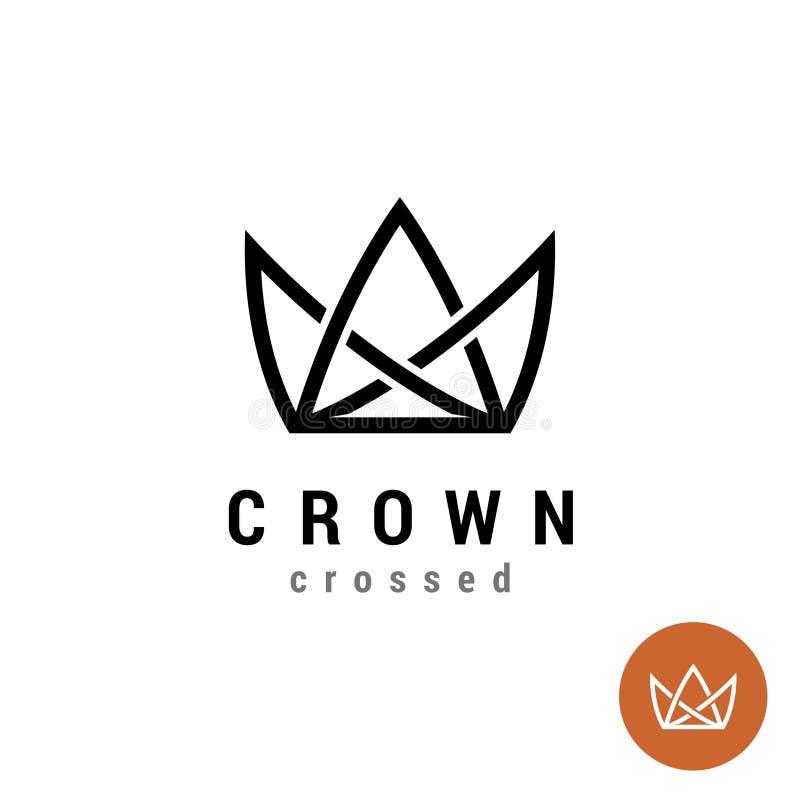 Królewiątko korony liniowy logo Sylwetka korona z liniami ilustracji