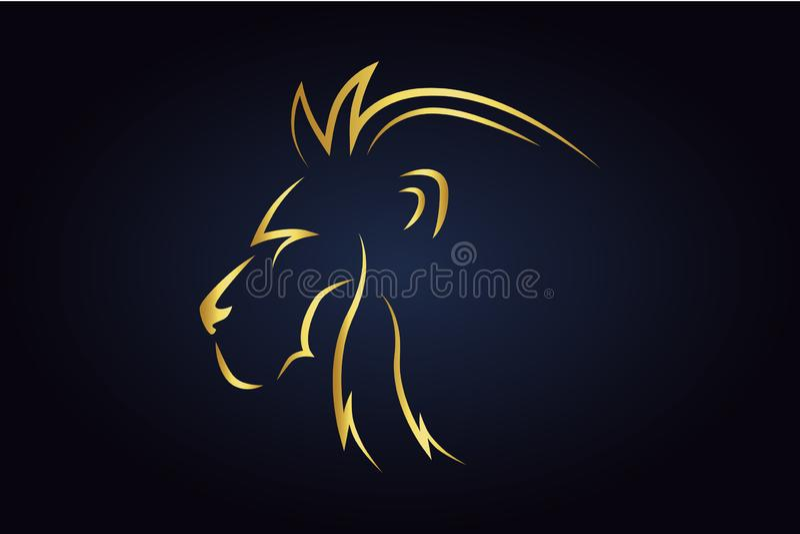Królewiątko lwa głowy sylwetka obracająca lewa strona ilustracji