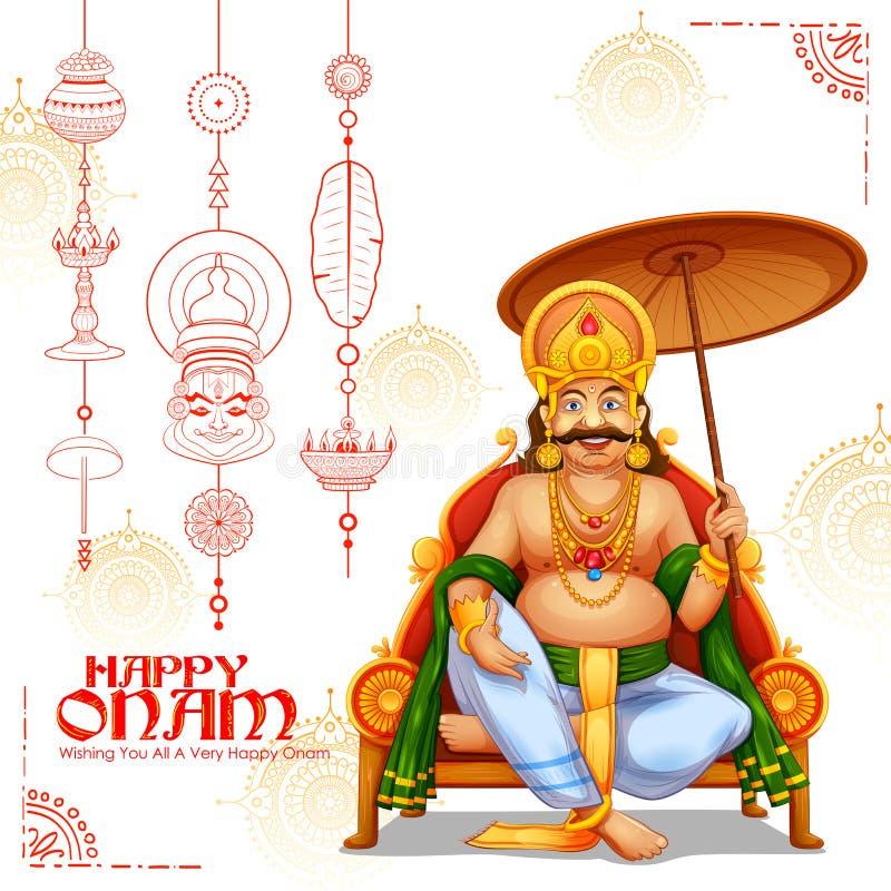 Królewiątko Mahabali w Onam tle pokazuje kulturę Kerala ilustracja wektor