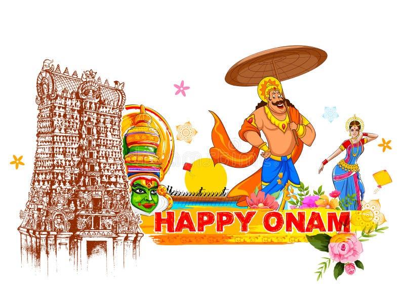 Królewiątko Mahabali w Onam tle pokazuje kulturę Kerala ilustracji
