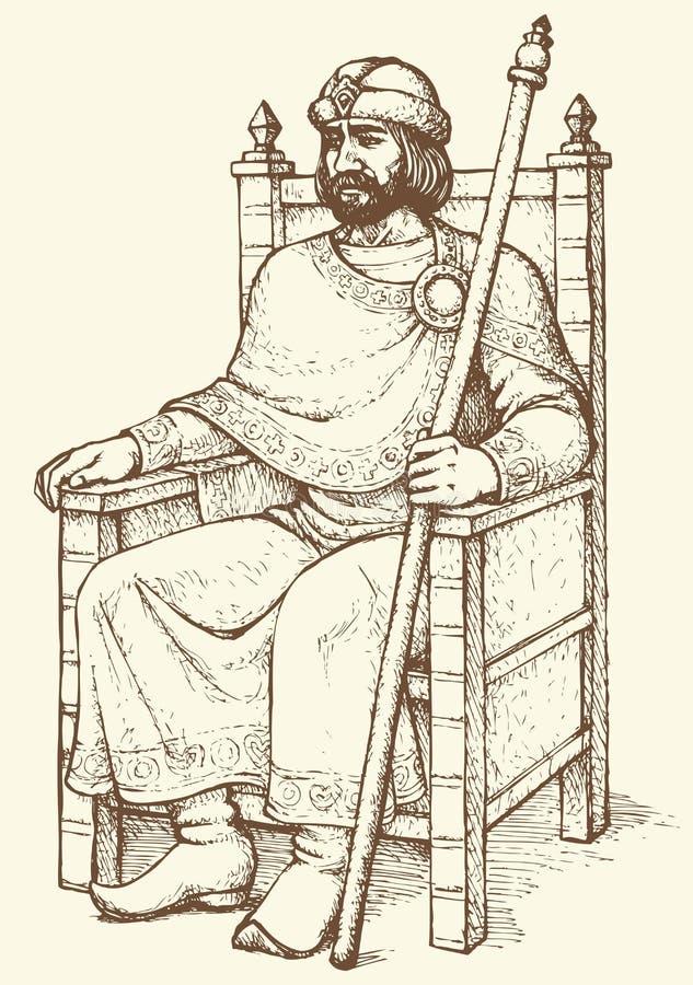 Królewiątko na tronie rysuje tła trawy kwiecistego wektora ilustracji