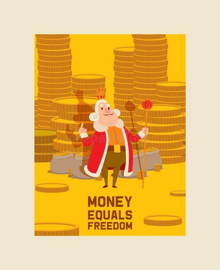 Królewiątko pieniądze charakteru wektorowej kreskówki królewski mężczyzna z złocistych monet oszczędzania ilustracyjnego monetarn ilustracji