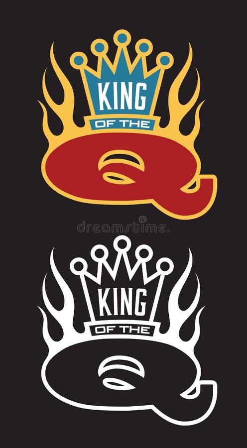 Królewiątko Q grilla emblemat ilustracja wektor