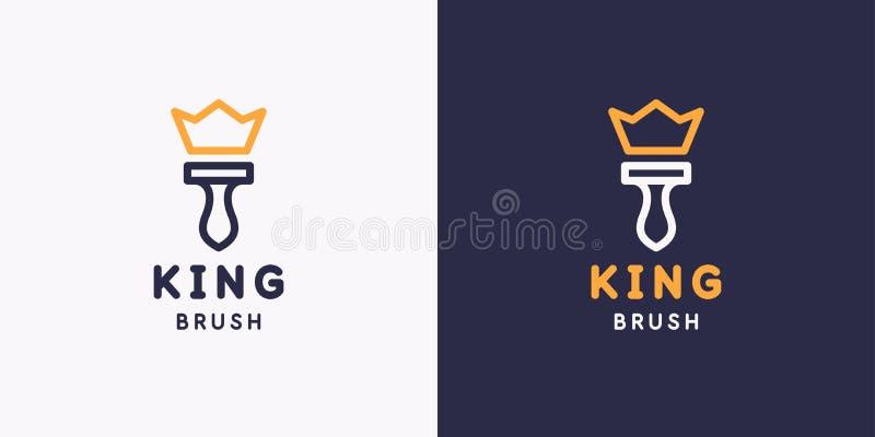 Królewiątko szczotkarski emblemat Handtool dla domowego od?wie?ania i budowy Liniowa logo domu naprawa royalty ilustracja