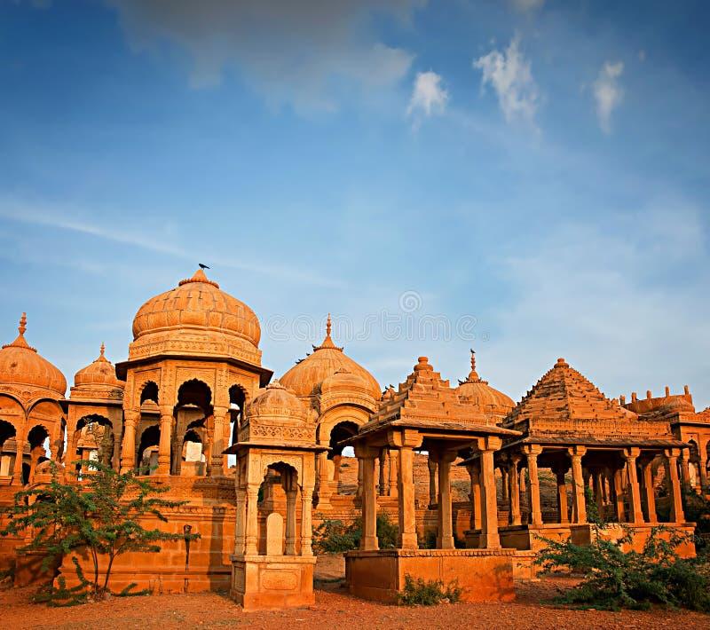 Królewscy cenotaphs historyczne władcy, Jaisalmer, India zdjęcie stock
