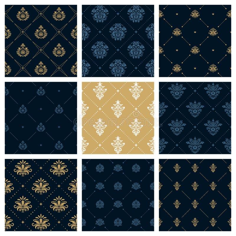 Królewscy wzory lub wiktoriański bożych narodzeń tła set ilustracji