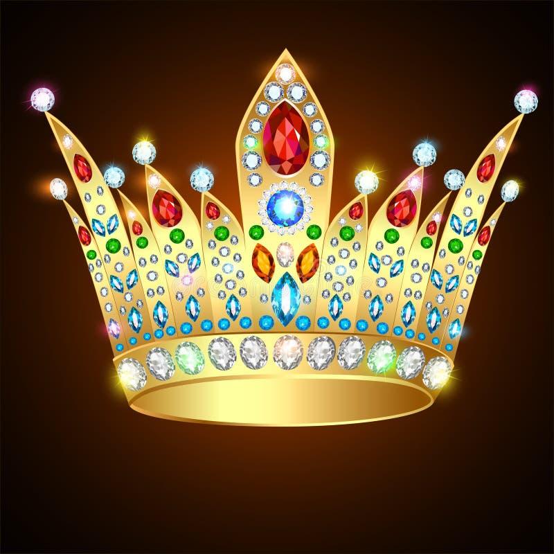 Królewska błyszcząca złocista korona z cennymi kamieniami i żyd ilustracji