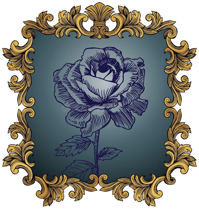 królewska królewiątko ramowa róża ilustracja wektor