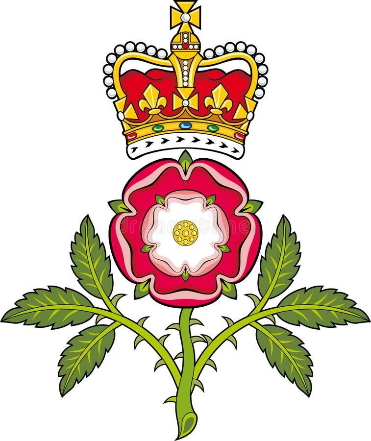 Królewska odznaka England.Heraldic Tudor wzrastał ilustracja wektor