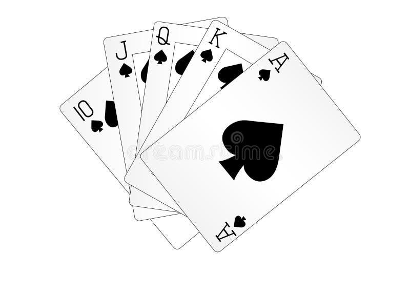 Królewska prostego sekwensu karta do gry grzebaka ręka ilustracji